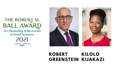 A graphic featuring headshots of Robert Greenstein and Kilolo Kijakazi